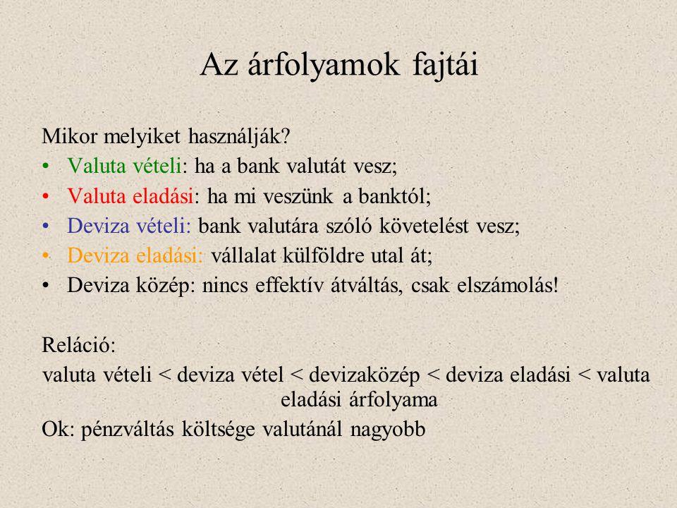 Az árfolyamok fajtái Mikor melyiket használják? •Valuta vételi: ha a bank valutát vesz; •Valuta eladási: ha mi veszünk a banktól; •Deviza vételi: bank