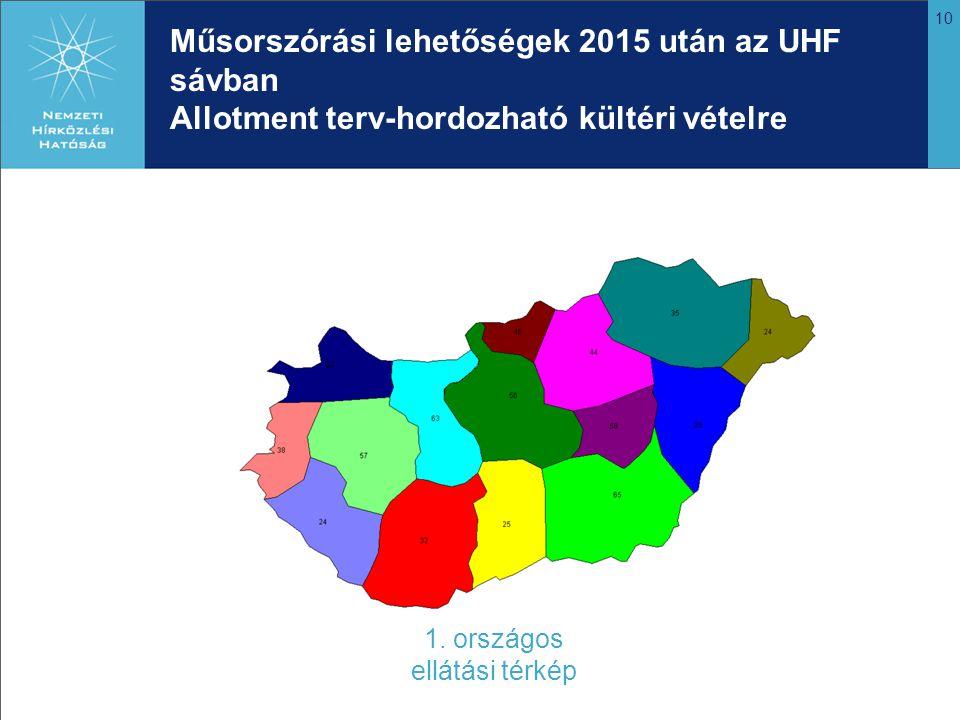 10 Műsorszórási lehetőségek 2015 után az UHF sávban Allotment terv-hordozható kültéri vételre 1. országos ellátási térkép