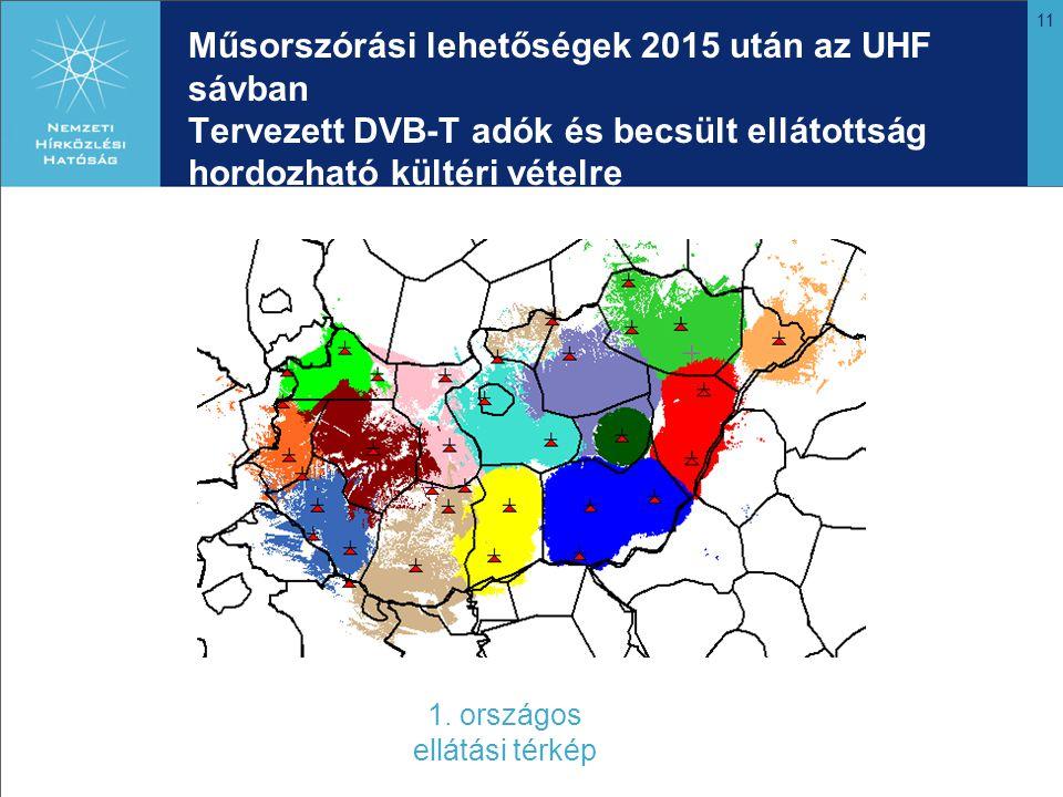 11 Műsorszórási lehetőségek 2015 után az UHF sávban Tervezett DVB-T adók és becsült ellátottság hordozható kültéri vételre 1. országos ellátási térkép