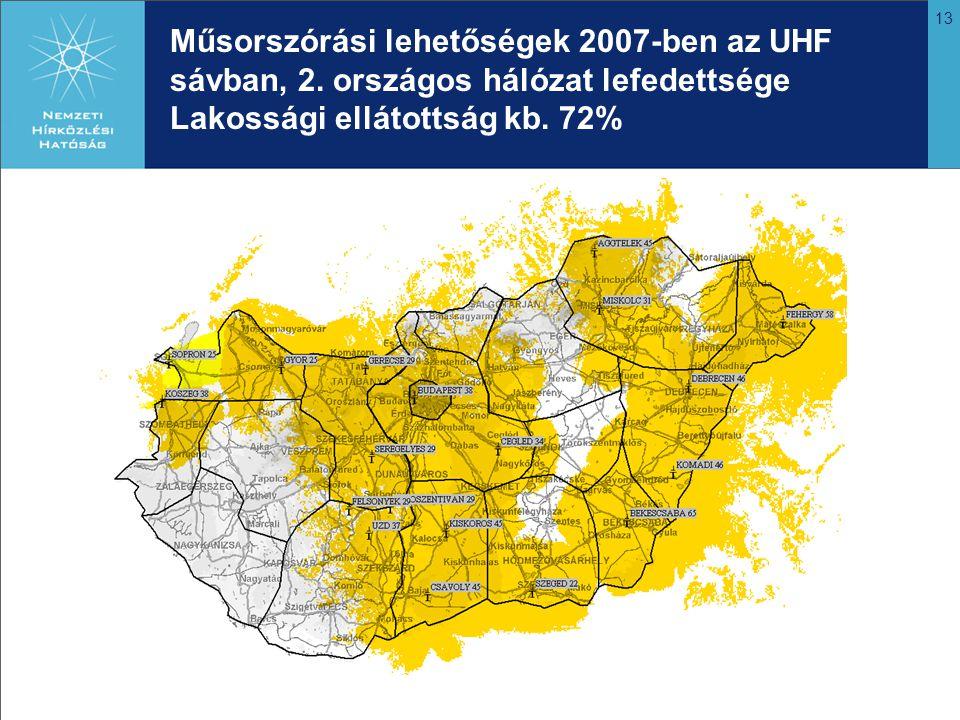 13 Műsorszórási lehetőségek 2007-ben az UHF sávban, 2. országos hálózat lefedettsége Lakossági ellátottság kb. 72%