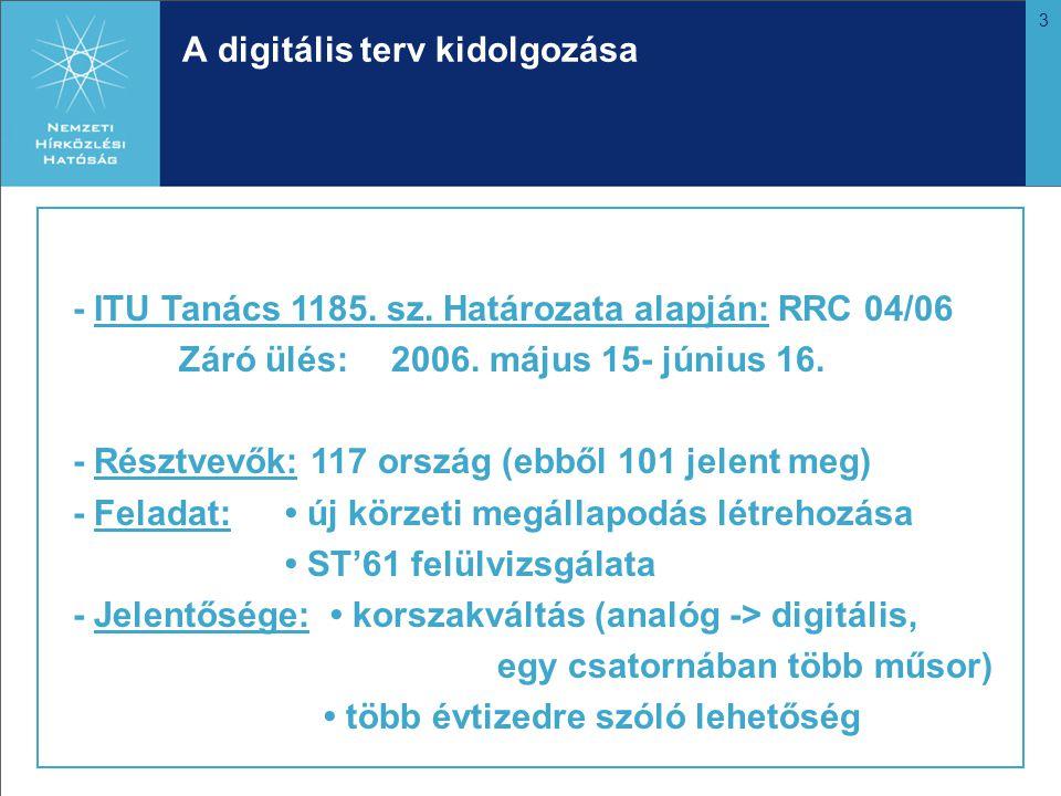 3 A digitális terv kidolgozása - ITU Tanács 1185. sz. Határozata alapján: RRC 04/06 Záró ülés:2006. május 15- június 16. - Résztvevők: 117 ország (ebb