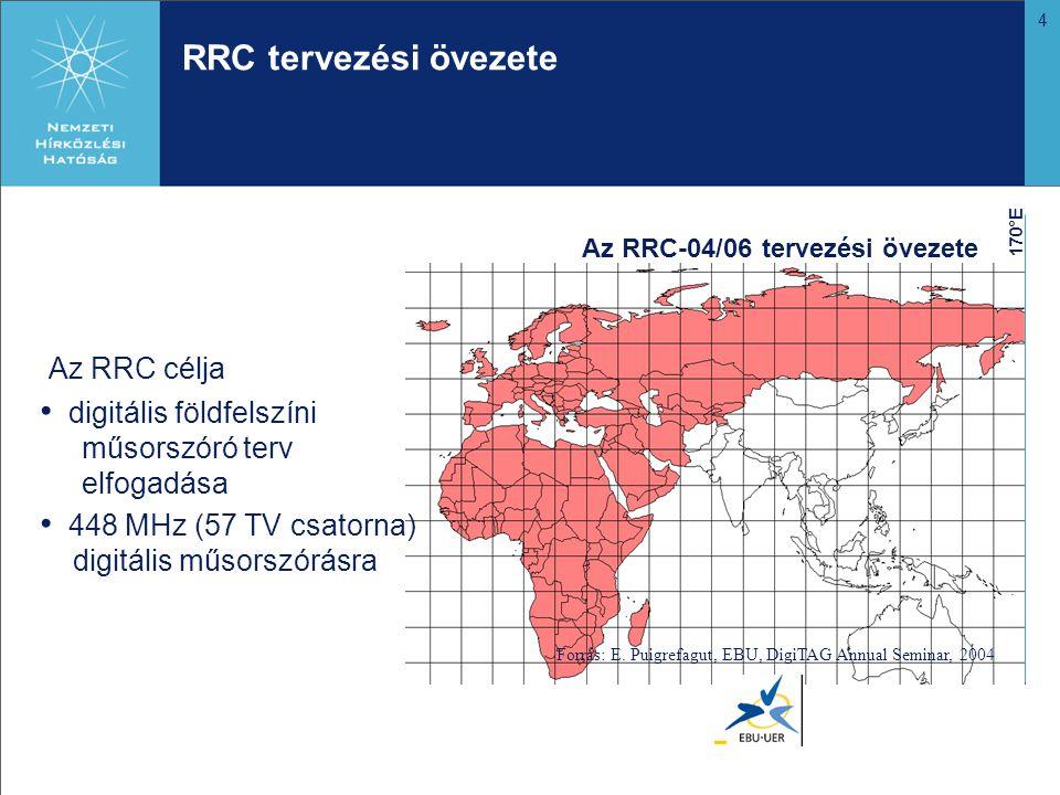 4 RRC tervezési övezete Az RRC-04/06 tervezési övezete 170°E Forrás: E. Puigrefagut, EBU, DigiTAG Annual Seminar, 2004 Az RRC célja • digitális földfe
