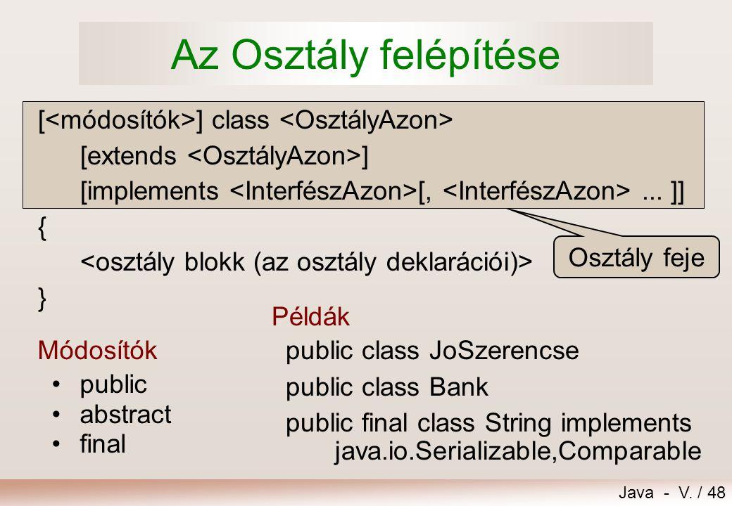 Java - V./ 48 Osztály feje [ ] class [extends ] [implements [,...