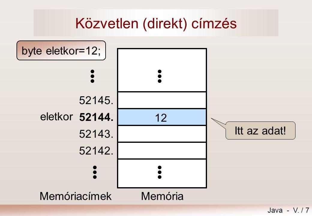 Java - V./ 7 Közvetlen (direkt) címzés Memória 52142.