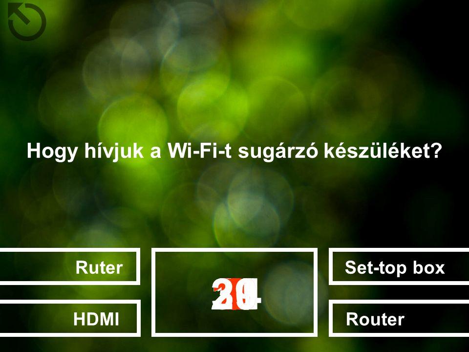 Hogy hívjuk a Wi-Fi-t sugárzó készüléket? Set-top boxRouterRuterHDMI 282726252022232412131415161718192111106789123453029