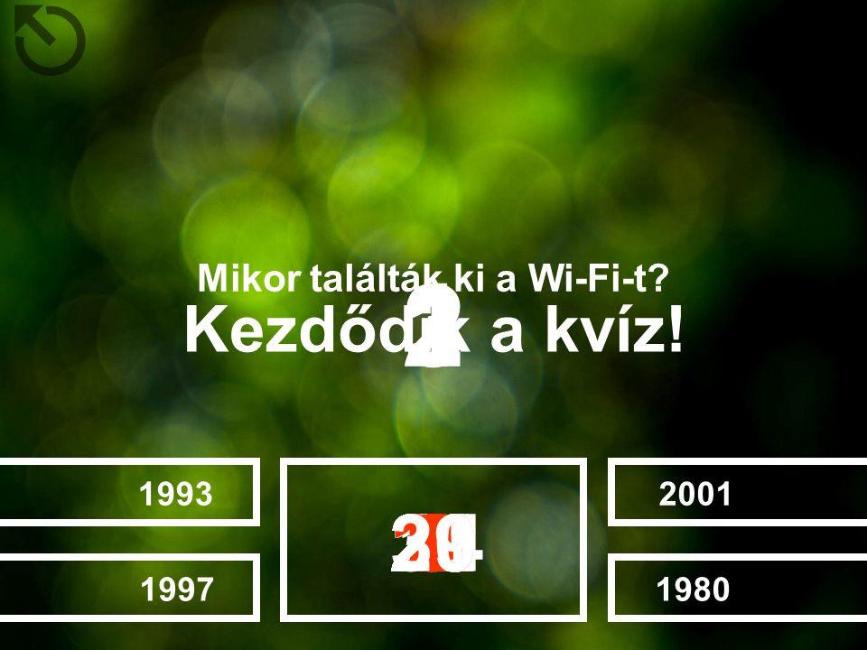 Mikor találták ki a Wi-Fi-t? 2001198019931997 282726252022232412131415161718192111106789123453029 Kezdődik a kvíz! 132