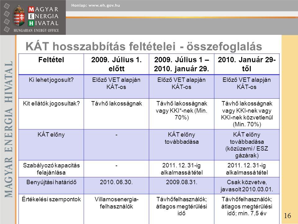KÁT hosszabbítás feltételei - összefoglalás Feltétel2009. Július 1. előtt 2009. Július 1 – 2010. január 29. 2010. Január 29- től Ki lehet jogosult?Elő