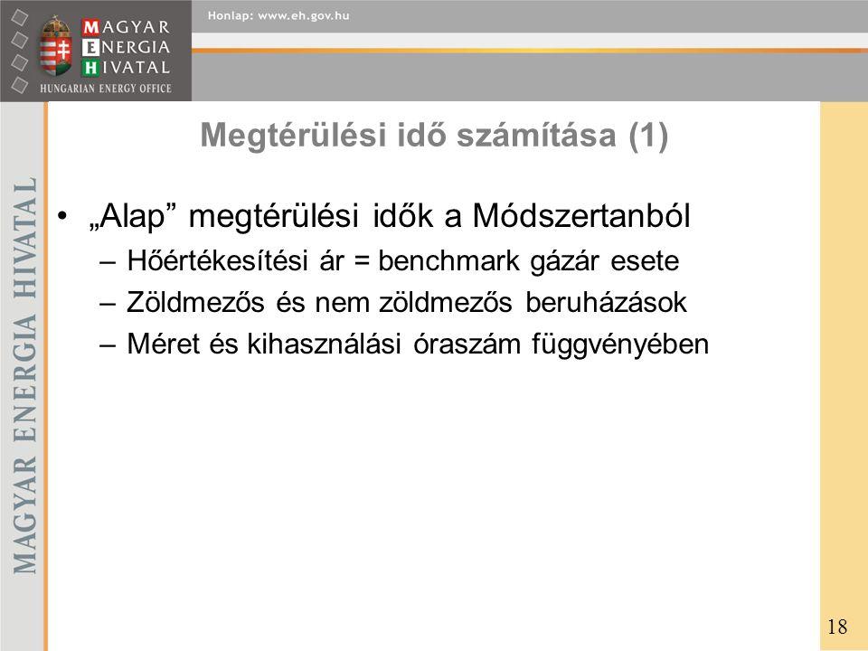"""Megtérülési idő számítása (1) •""""Alap"""" megtérülési idők a Módszertanból –Hőértékesítési ár = benchmark gázár esete –Zöldmezős és nem zöldmezős beruházá"""