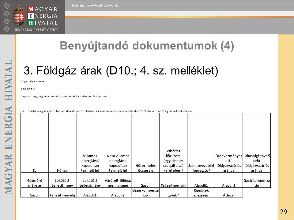Benyújtandó dokumentumok (4) Engedélyes neve: Telephely: Kapcsolt egység kereskedelmi üzemének kezdete (év, hónap, nap): Kérjük adja meg az alábbi tén