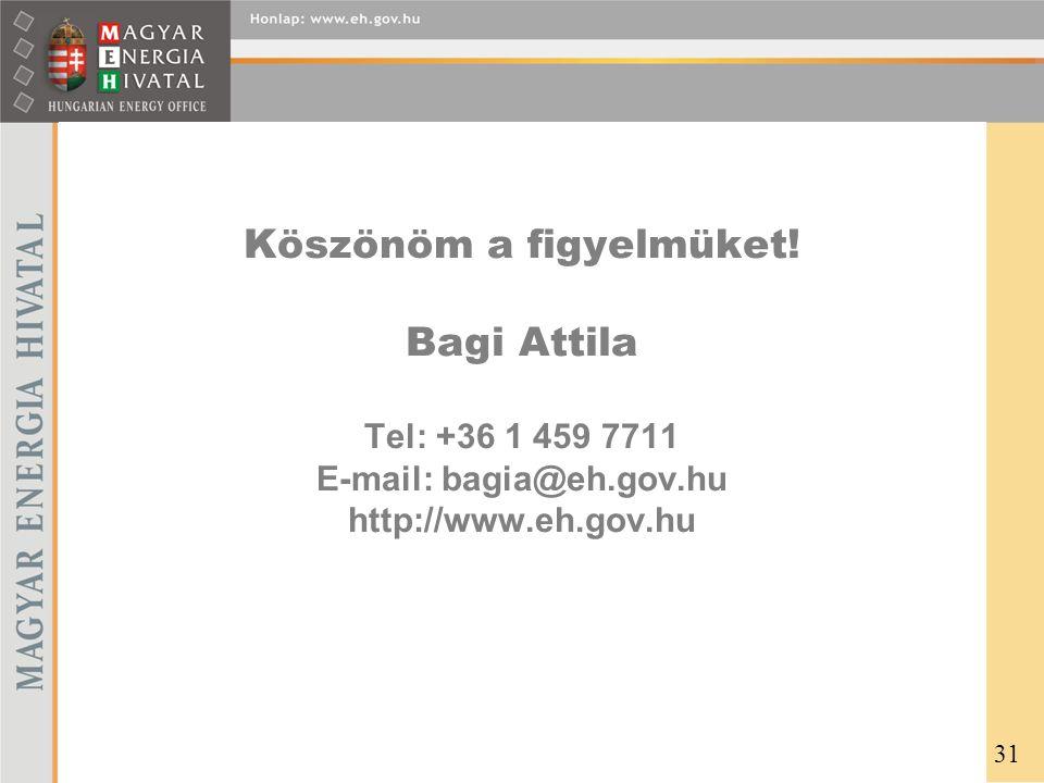 Köszönöm a figyelmüket! Bagi Attila Tel: +36 1 459 7711 E-mail: bagia@eh.gov.hu http://www.eh.gov.hu 31