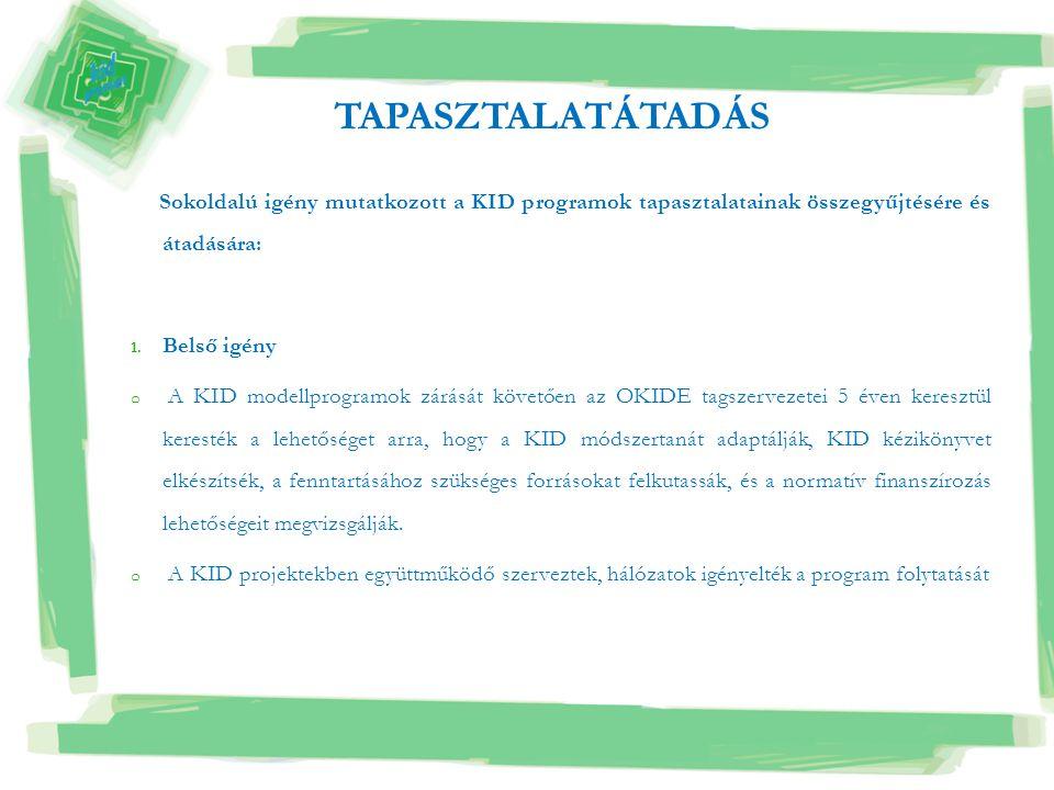 Sokoldalú igény mutatkozott a KID programok tapasztalatainak összegyűjtésére és átadására: 1. Belső igény o A KID modellprogramok zárását követően az