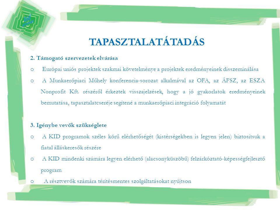 2. Támogató szervezetek elvárása o Európai uniós projektek szakmai követelménye a projektek eredményeinek disszeminálása o A Munkaerőpiaci Műhely konf