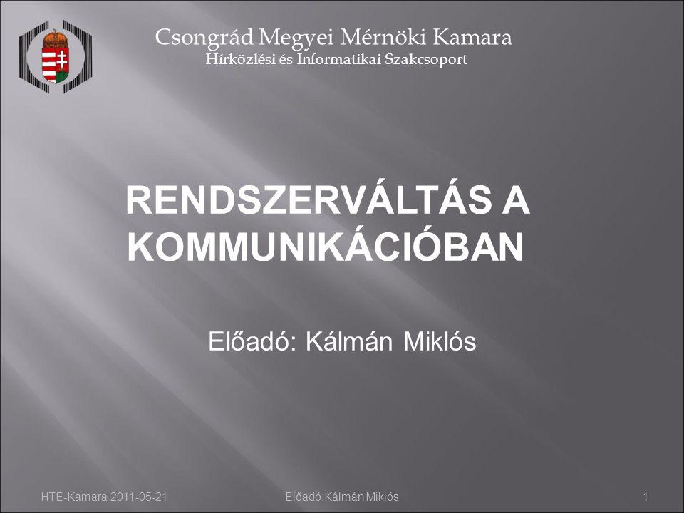 HTE-Kamara 2011-05-21Előadó:Kálmán Miklós2 Csongrád Megyei Mérnöki Kamara Hírközlési és Informatikai Szakcsoport Távközlési Világnap – Miért is.