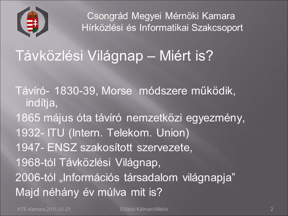 HTE-Kamara 2011-05-21Előadó:Kálmán Miklós2 Csongrád Megyei Mérnöki Kamara Hírközlési és Informatikai Szakcsoport Távközlési Világnap – Miért is? Távír