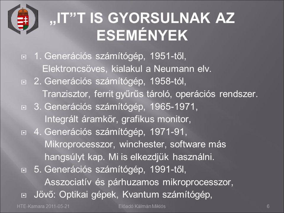 """HTE-Kamara 2011-05-21Előadó:Kálmán Miklós6 """"IT""""T IS GYORSULNAK AZ ESEMÉNYEK  1. Generációs számítógép, 1951-től, Elektroncsöves, kialakul a Neumann e"""