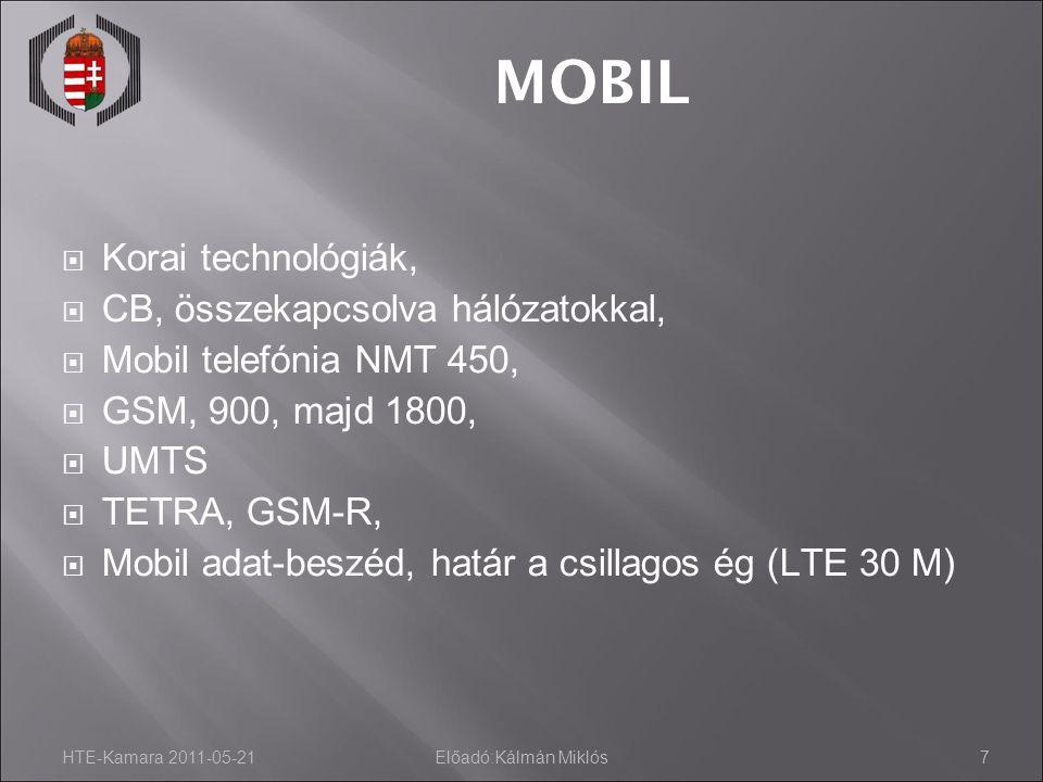HTE-Kamara 2011-05-21Előadó:Kálmán Miklós7 MOBIL  Korai technológiák,  CB, összekapcsolva hálózatokkal,  Mobil telefónia NMT 450,  GSM, 900, majd