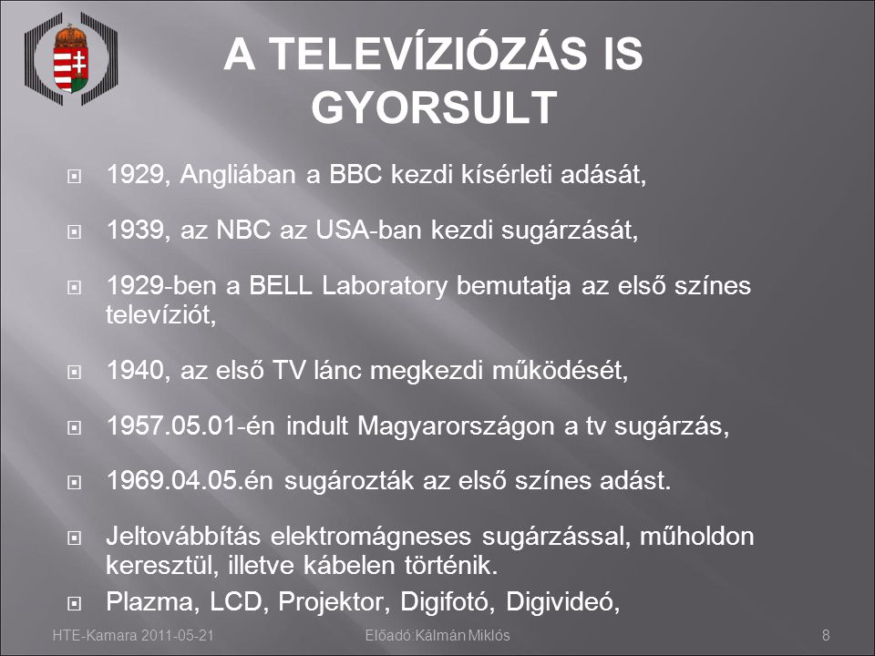 HTE-Kamara 2011-05-21Előadó:Kálmán Miklós8 A TELEVÍZIÓZÁS IS GYORSULT  1929, Angliában a BBC kezdi kísérleti adását,  1939, az NBC az USA-ban kezdi