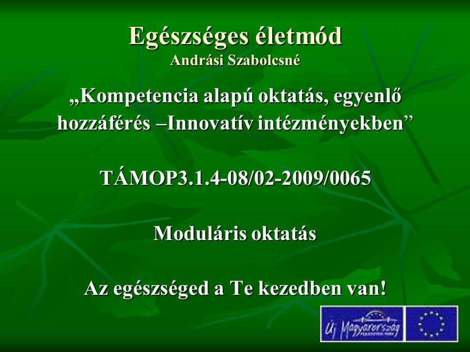 """Egészséges életmód Andrási Szabolcsné """"Kompetencia alapú oktatás, egyenlő hozzáférés –Innovatív intézményekben"""" TÁMOP3.1.4-08/02-2009/0065 Moduláris o"""