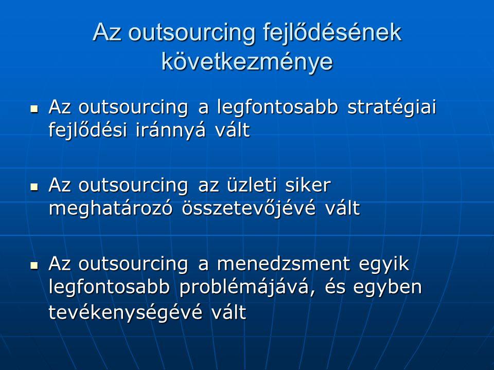 Az outsourcing fejlődésének következménye  Az outsourcing a legfontosabb stratégiai fejlődési iránnyá vált  Az outsourcing az üzleti siker meghatáro