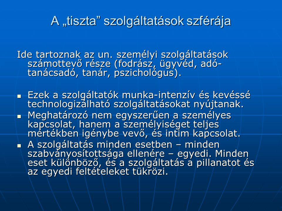 """A """"tiszta"""" szolgáltatások szférája Ide tartoznak az un. személyi szolgáltatások számottevő része (fodrász, ügyvéd, adó- tanácsadó, tanár, pszichológus"""