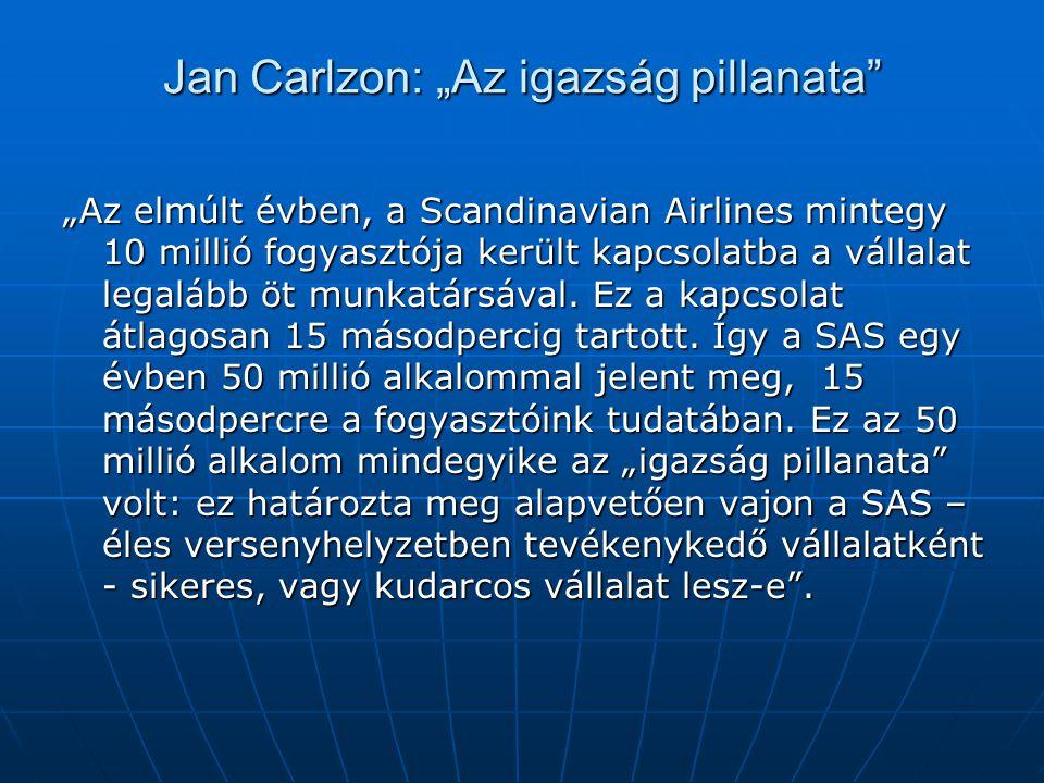 """Jan Carlzon: """"Az igazság pillanata"""" """"Az elmúlt évben, a Scandinavian Airlines mintegy 10 millió fogyasztója került kapcsolatba a vállalat legalább öt"""