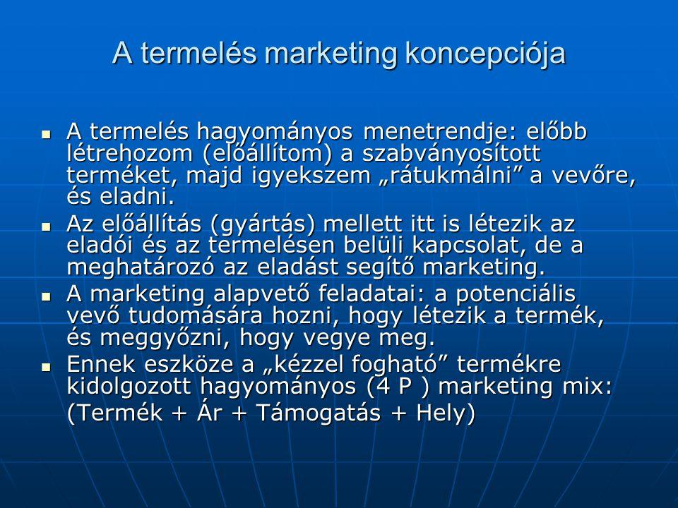 """A termelés marketing koncepciója  A termelés hagyományos menetrendje: előbb létrehozom (előállítom) a szabványosított terméket, majd igyekszem """"rátuk"""