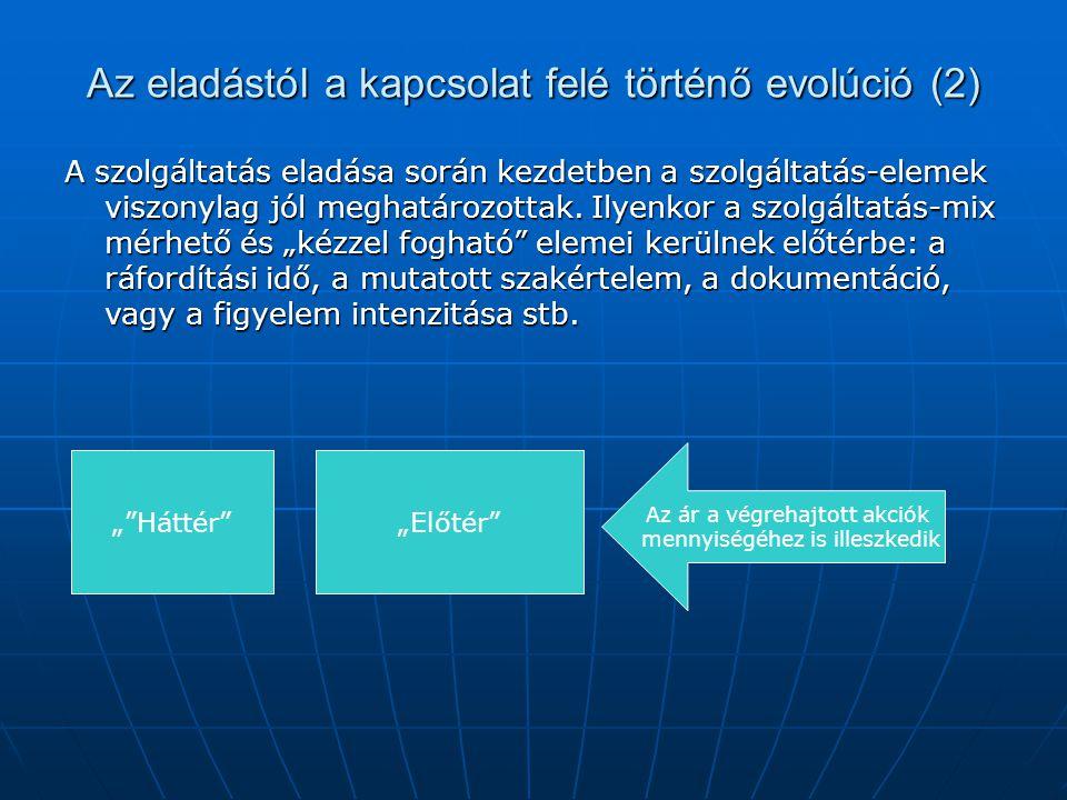 Az eladástól a kapcsolat felé történő evolúció (2) A szolgáltatás eladása során kezdetben a szolgáltatás-elemek viszonylag jól meghatározottak. Ilyenk