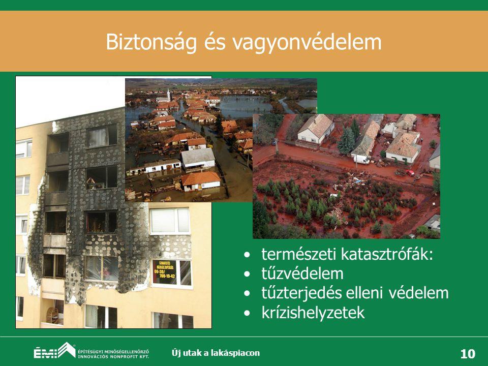 10 Biztonság és vagyonvédelem •természeti katasztrófák: •tűzvédelem •tűzterjedés elleni védelem •krízishelyzetek Új utak a lakáspiacon