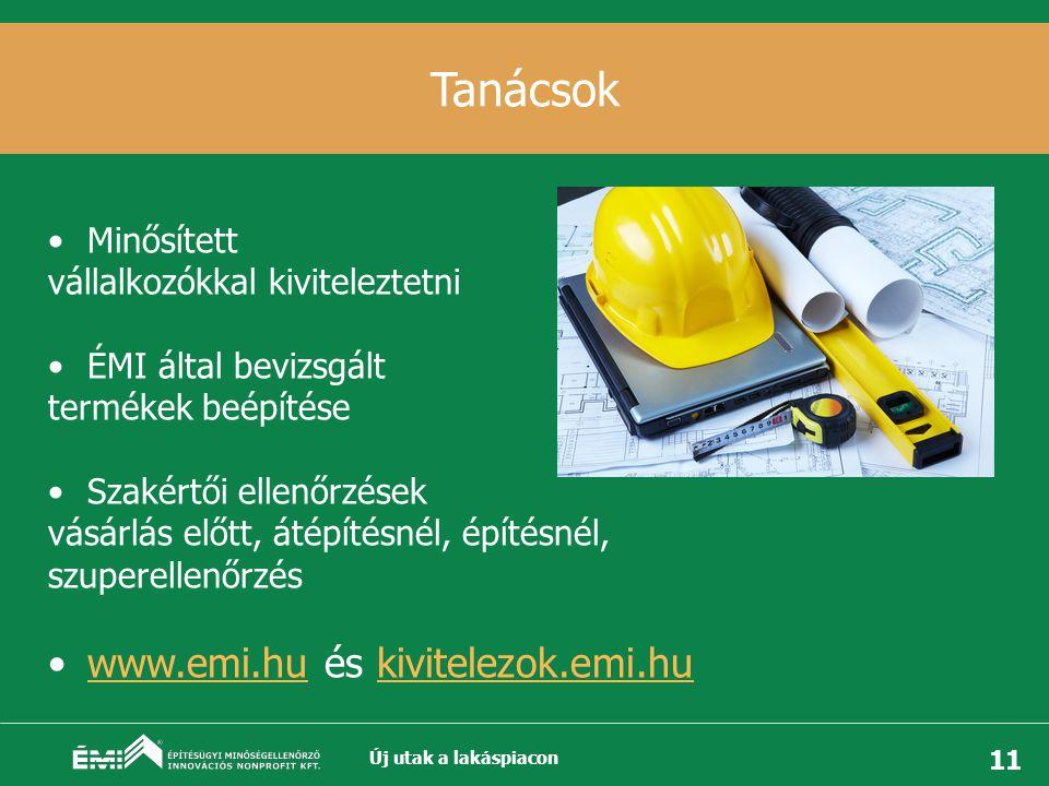11 Tanácsok •Minősített vállalkozókkal kiviteleztetni •ÉMI által bevizsgált termékek beépítése •Szakértői ellenőrzések vásárlás előtt, átépítésnél, építésnél, szuperellenőrzés •www.emi.hu és kivitelezok.emi.huwww.emi.hu Új utak a lakáspiacon