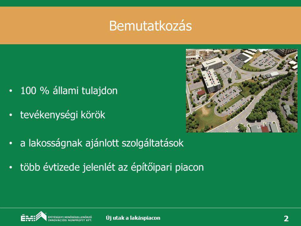2 Bemutatkozás • 100 % állami tulajdon • tevékenységi körök • a lakosságnak ajánlott szolgáltatások • több évtizede jelenlét az építőipari piacon Új utak a lakáspiacon