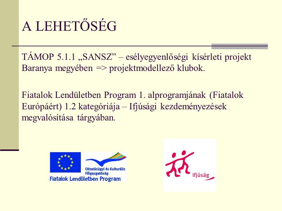 """TÁMOP 5.1.1 """"SANSZ"""" – esélyegyenlőségi kísérleti projekt Baranya megyében => projektmodellező klubok. Fiatalok Lendületben Program 1. alprogramjának ("""