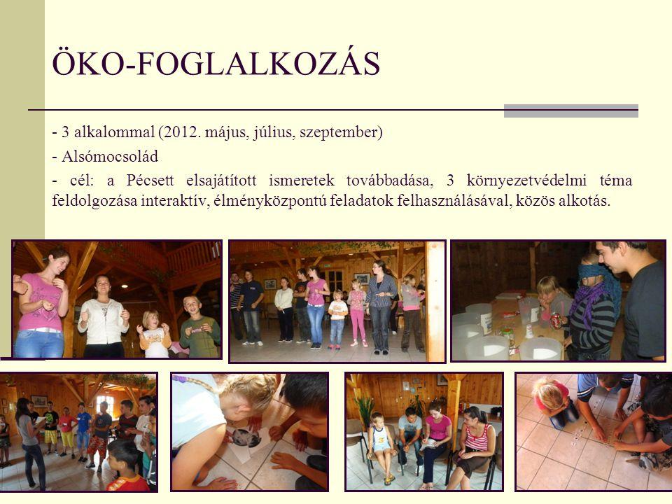 ÖKO-FOGLALKOZÁS - 3 alkalommal (2012. május, július, szeptember) - Alsómocsolád - cél: a Pécsett elsajátított ismeretek továbbadása, 3 környezetvédelm