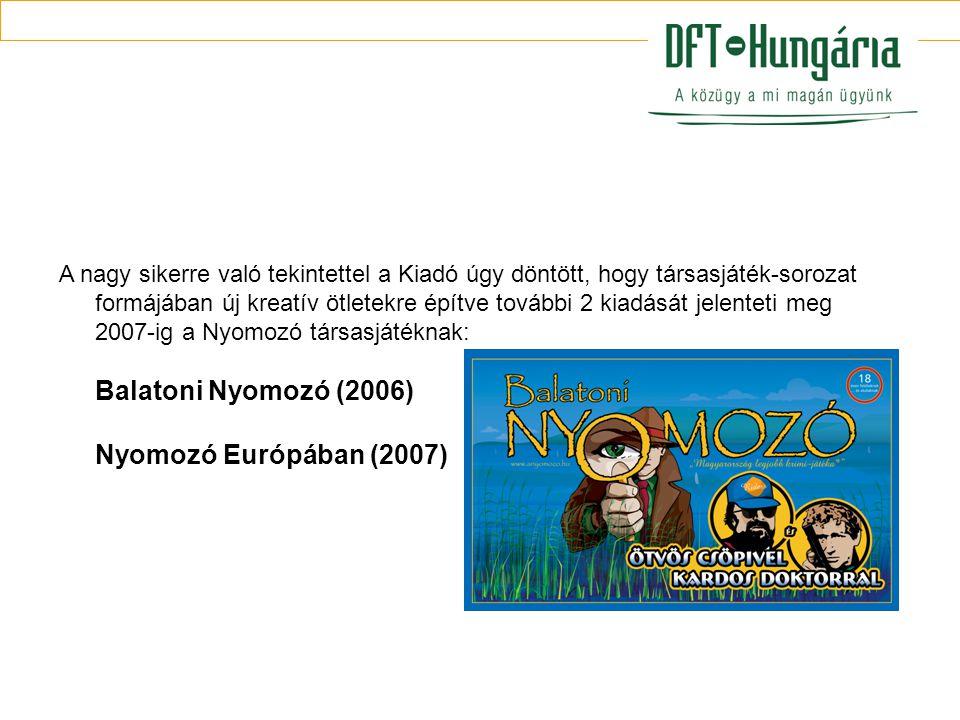 A nagy sikerre való tekintettel a Kiadó úgy döntött, hogy társasjáték-sorozat formájában új kreatív ötletekre építve további 2 kiadását jelenteti meg 2007-ig a Nyomozó társasjátéknak: Balatoni Nyomozó (2006) Nyomozó Európában (2007)