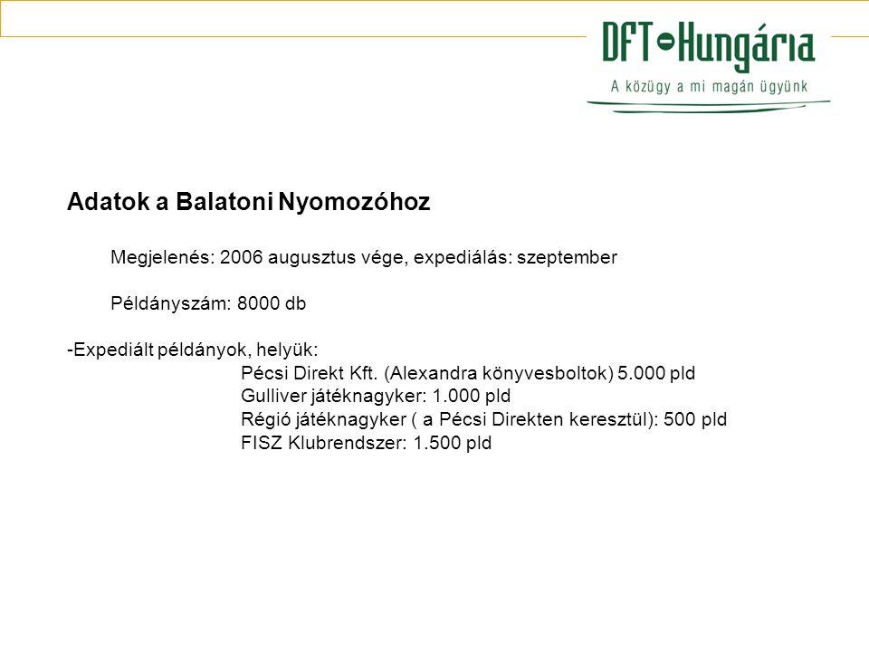 Adatok a Balatoni Nyomozóhoz Megjelenés: 2006 augusztus vége, expediálás: szeptember Példányszám: 8000 db -Expediált példányok, helyük: Pécsi Direkt Kft.