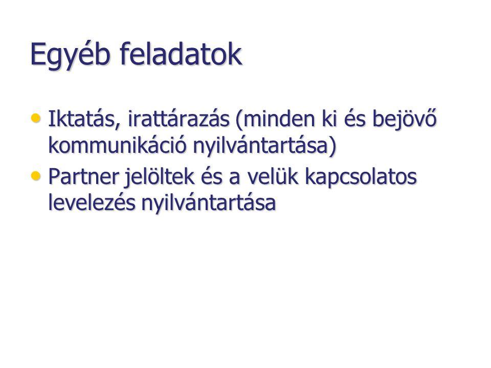 Egyéb feladatok • Iktatás, irattárazás (minden ki és bejövő kommunikáció nyilvántartása) • Partner jelöltek és a velük kapcsolatos levelezés nyilvántartása