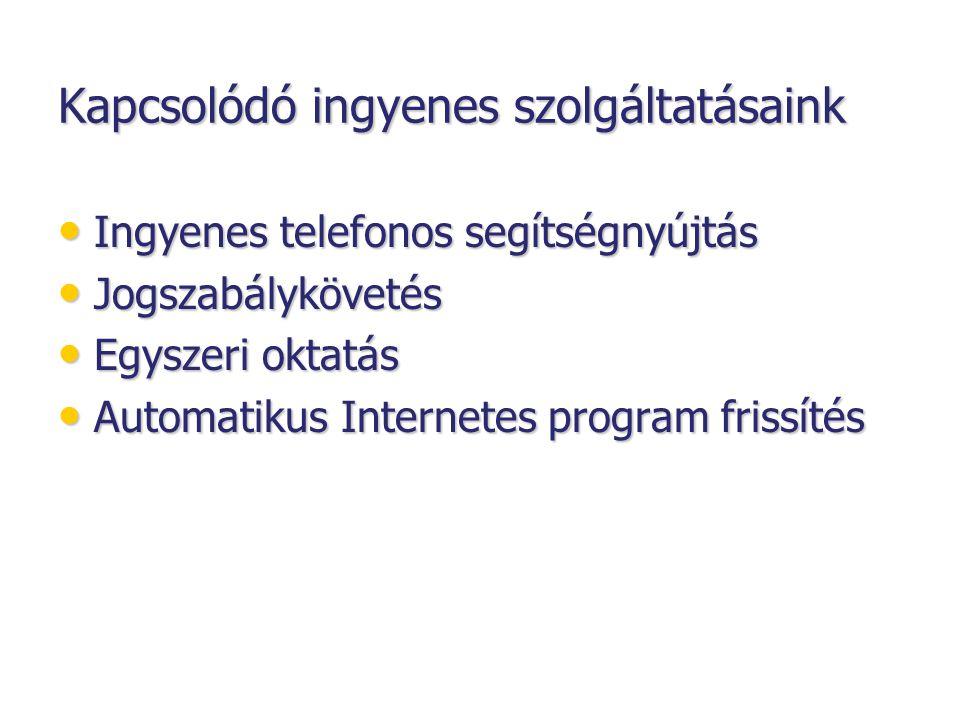 Kapcsolódó ingyenes szolgáltatásaink • Ingyenes telefonos segítségnyújtás • Jogszabálykövetés • Egyszeri oktatás • Automatikus Internetes program frissítés