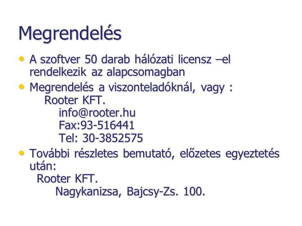 Megrendelés • A szoftver 50 darab hálózati licensz –el rendelkezik az alapcsomagban • Megrendelés a viszonteladóknál, vagy : Rooter KFT.