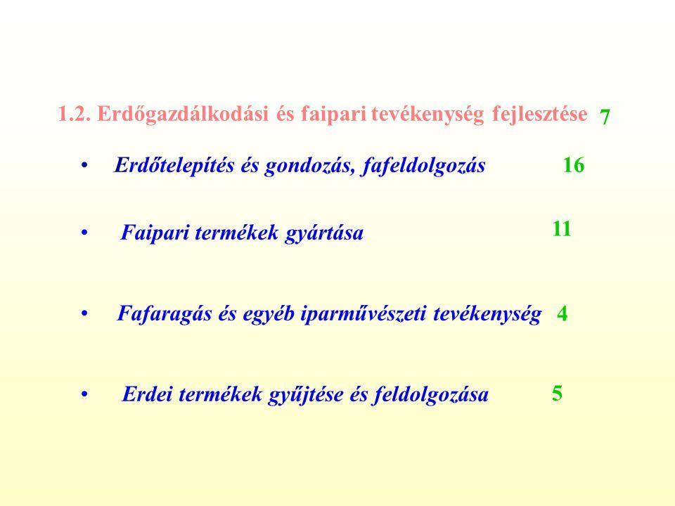 1.2. Erdőgazdálkodási és faipari tevékenység fejlesztése •Erdőtelepítés és gondozás, fafeldolgozás • Faipari termékek gyártása • Fafaragás és egyéb ip