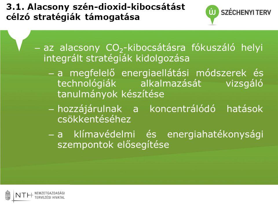 3.1. Alacsony szén-dioxid-kibocsátást célzó stratégiák támogatása – az alacsony CO 2 -kibocsátásra fókuszáló helyi integrált stratégiák kidolgozása –