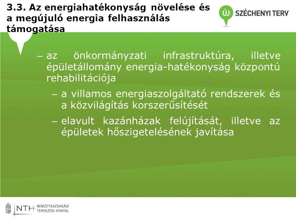 – az önkormányzati infrastruktúra, illetve épületállomány energia-hatékonyság központú rehabilitációja – a villamos energiaszolgáltató rendszerek és a közvilágítás korszerűsítését – elavult kazánházak felújítását, illetve az épületek hőszigetelésének javítása 3.3.