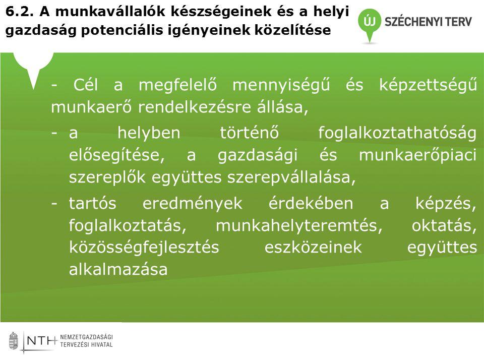 6.2. A munkavállalók készségeinek és a helyi gazdaság potenciális igényeinek közelítése - Cél a megfelelő mennyiségű és képzettségű munkaerő rendelkez