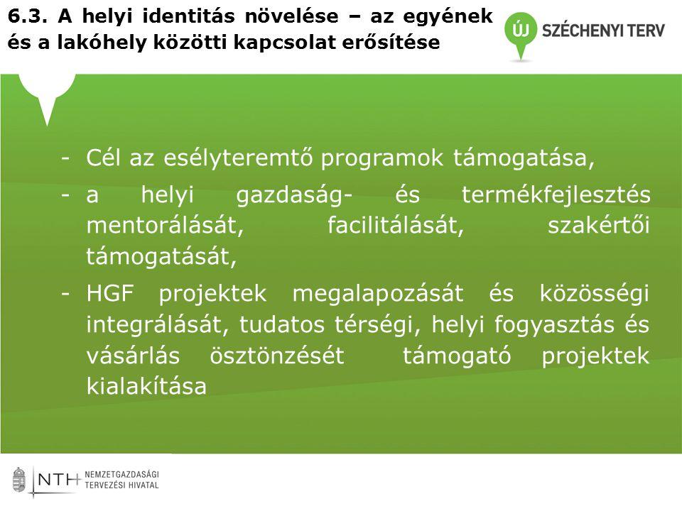 6.3. A helyi identitás növelése – az egyének és a lakóhely közötti kapcsolat erősítése -Cél az esélyteremtő programok támogatása, -a helyi gazdaság- é