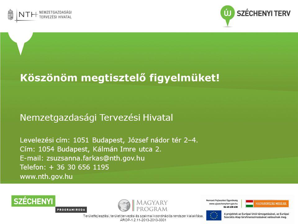 Területfejlesztési, területi tervezési és szakmai koordinációs rendszer kialakítása, ÁROP-1.2.11-2013-2013-0001 Köszönöm megtisztelő figyelmüket.