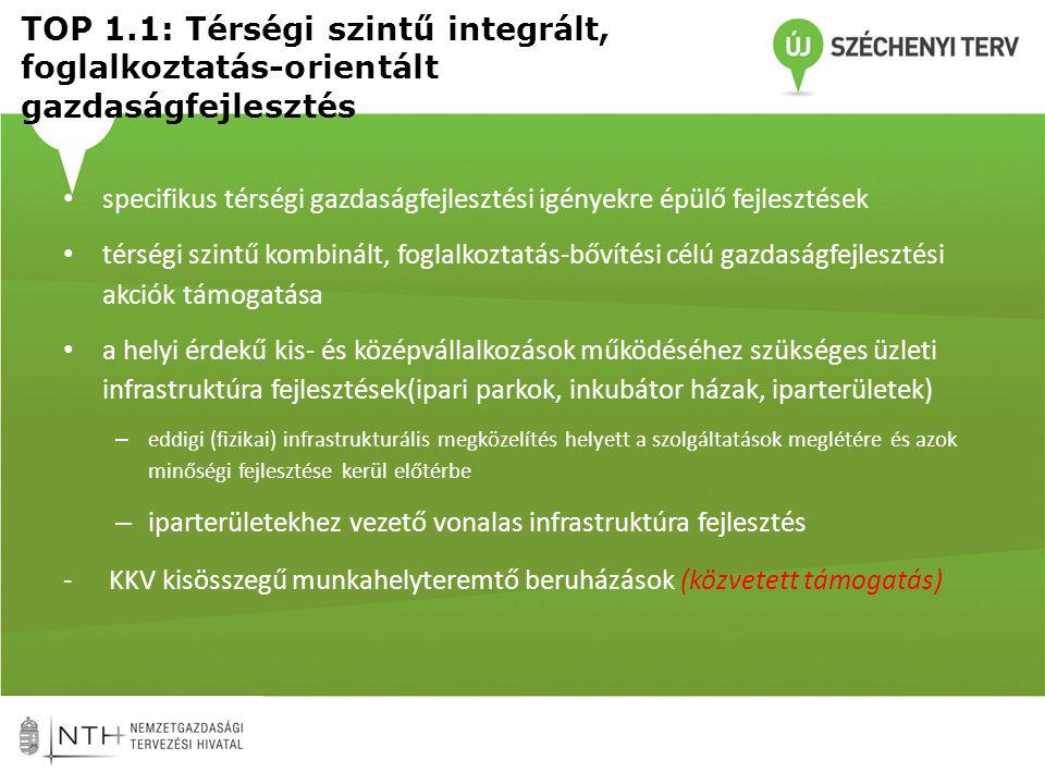 TOP 1.2: Térségi szintű, foglalkoztatás- bővítési célú turizmusfejlesztés • A GINOP-ból támogatott országosan kiemelt hálózatos és egyedi fejlesztésekbe nem tartozó – lehetőség szerint azokra tematikusan ráfűződő – turisztikai termékcsomagok és kisléptékű tematikus turisztikai fejlesztések •Együttműködésre épülő tematikusan és térségileg integrált, több elemű turisztikai fejlesztési projektcsomagok támogatása a desztinációfejlesztési stratégiákhoz illeszkedve •A fejlesztések az infrastrukturális és szolgáltatói oldalon tapasztalható hiányosságainak, a komplex élményszerzés biztosítására és a szezonális ingadozások kiküszöbölésére koncentráljanak