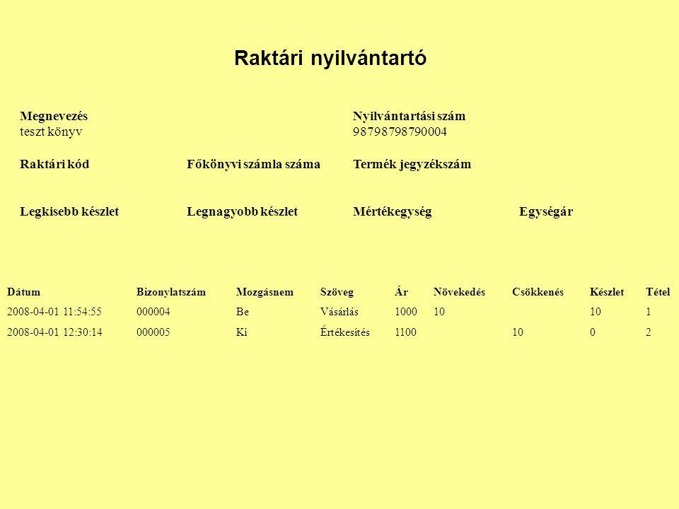 Raktári nyilvántartó Megnevezés teszt könyv Nyilvántartási szám 98798798790004 Raktári kódFőkönyvi számla számaTermék jegyzékszám Legkisebb készletLeg