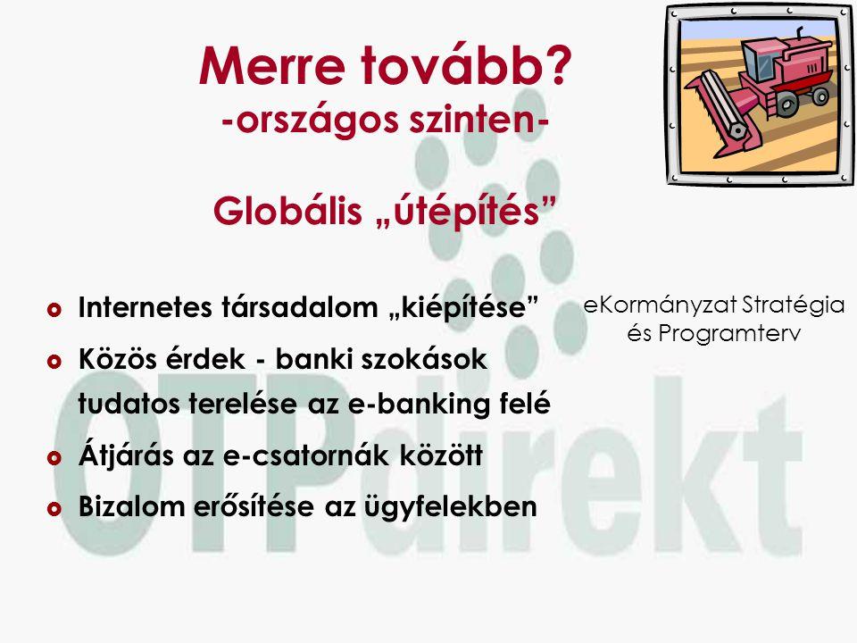 Közös cél  Társadalmi elfogadottság  Magas színvonalú szolgáltatások  Biztonságos e-bankolás Az e-banking széles körű elterjedése Lehetséges uticél.