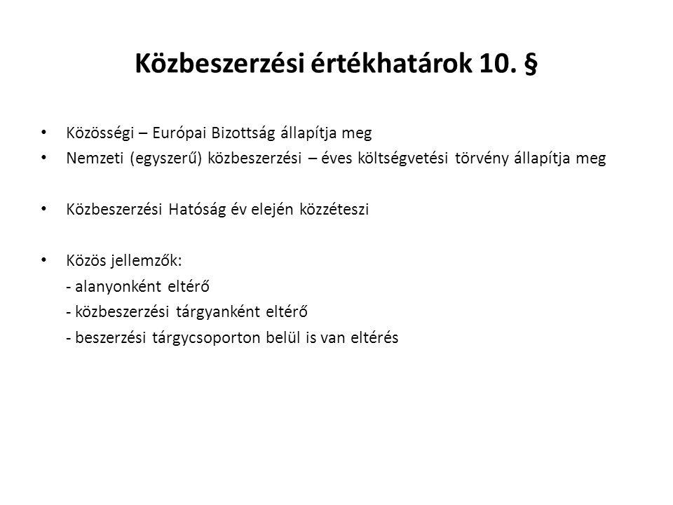 Közbeszerzési értékhatárok 10.