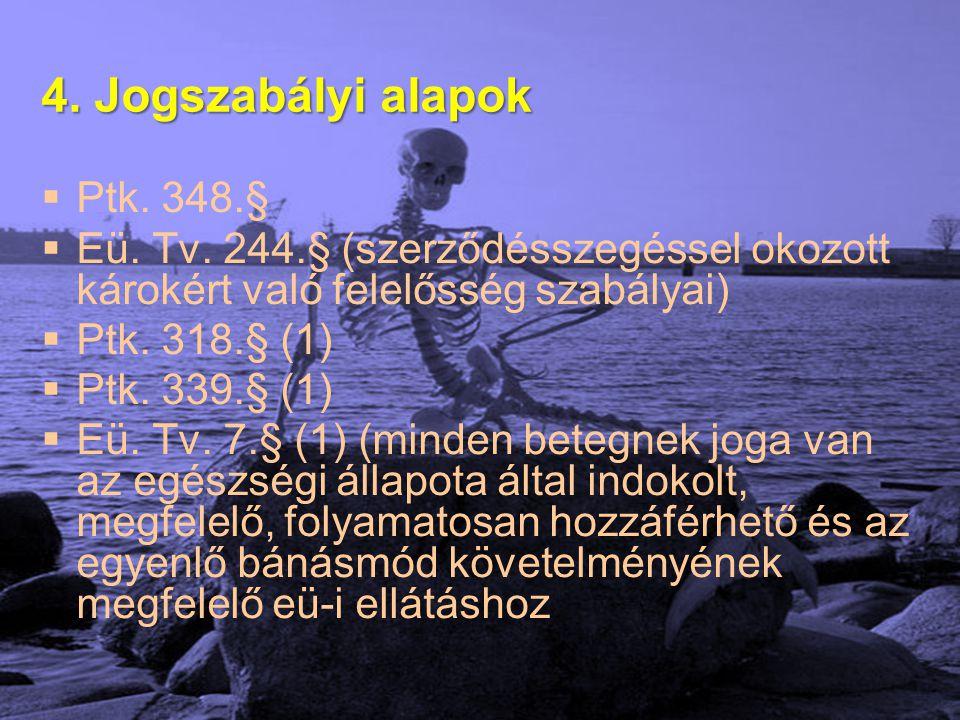 4. Jogszabályi alapok  Ptk. 348.§  Eü. Tv. 244.§ (szerződésszegéssel okozott károkért való felelősség szabályai)  Ptk. 318.§ (1)  Ptk. 339.§ (1) 