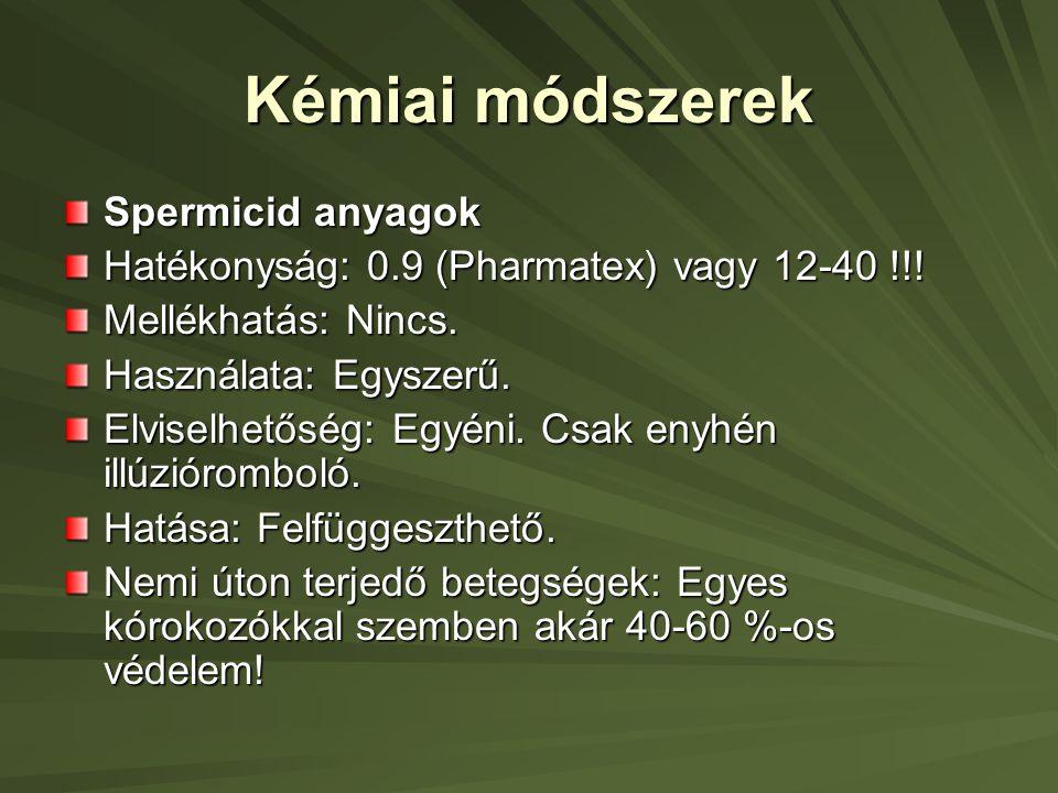 Kémiai módszerek Spermicid anyagok Hatékonyság: 0.9 (Pharmatex) vagy 12-40 !!.