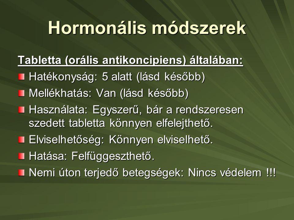 Hormonális módszerek Tabletta (orális antikoncipiens) általában: Hatékonyság: 5 alatt (lásd később) Mellékhatás: Van (lásd később) Használata: Egyszerű, bár a rendszeresen szedett tabletta könnyen elfelejthető.